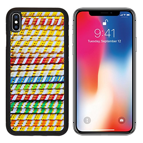 MSD Premium Apple iPhone X Aluminum Backplate Bumper Snap Case Background of color sticks and stripes IMAGE 19015678