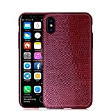 UU&T Upgrade Lightweight Luxury Case Lizard Leather Premium Shockproof Hardshell Back Cover Case For IPhone X 5.8 Inch Wine Red