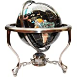 """Unique Art Since 1996 14"""" Black Onyx Gemstone Globe with Silver Stand"""