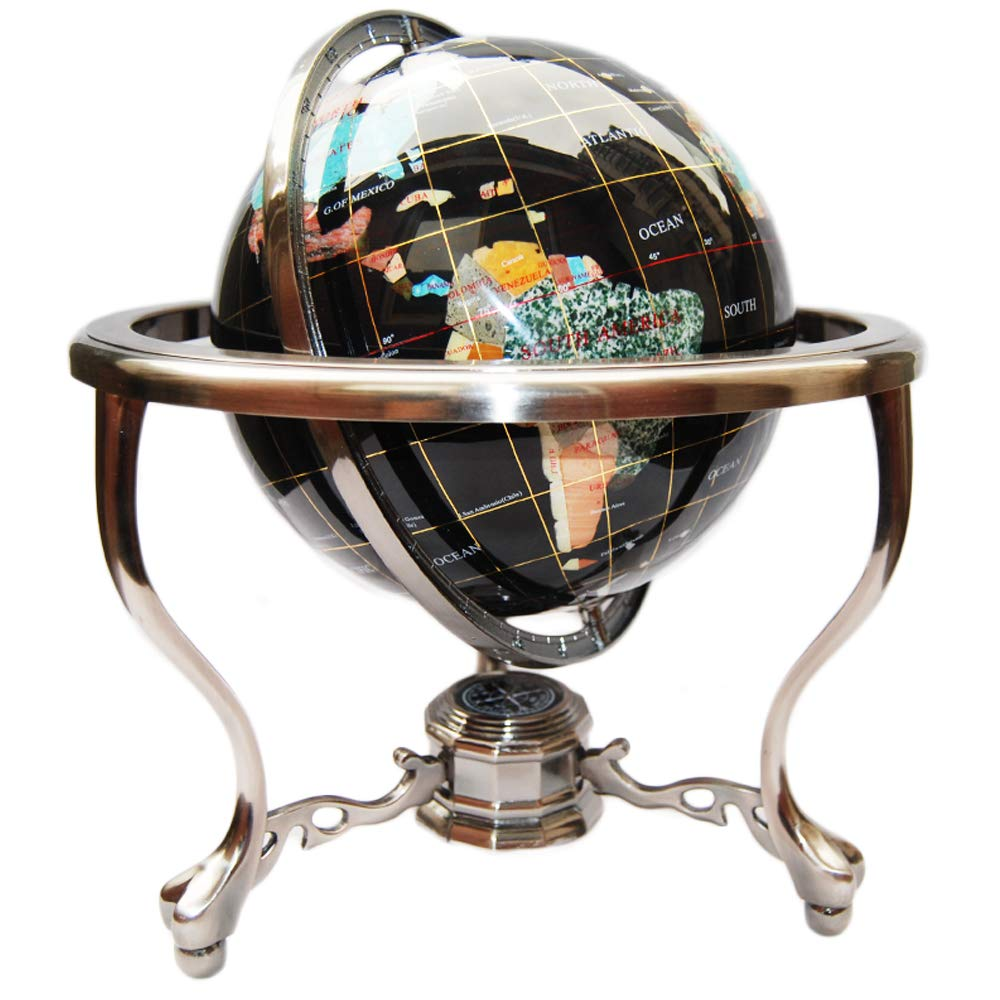 "Unique Art Since 1996 14"" BLACK ONYX GEMSTONE GLOBE with Silver Stand"