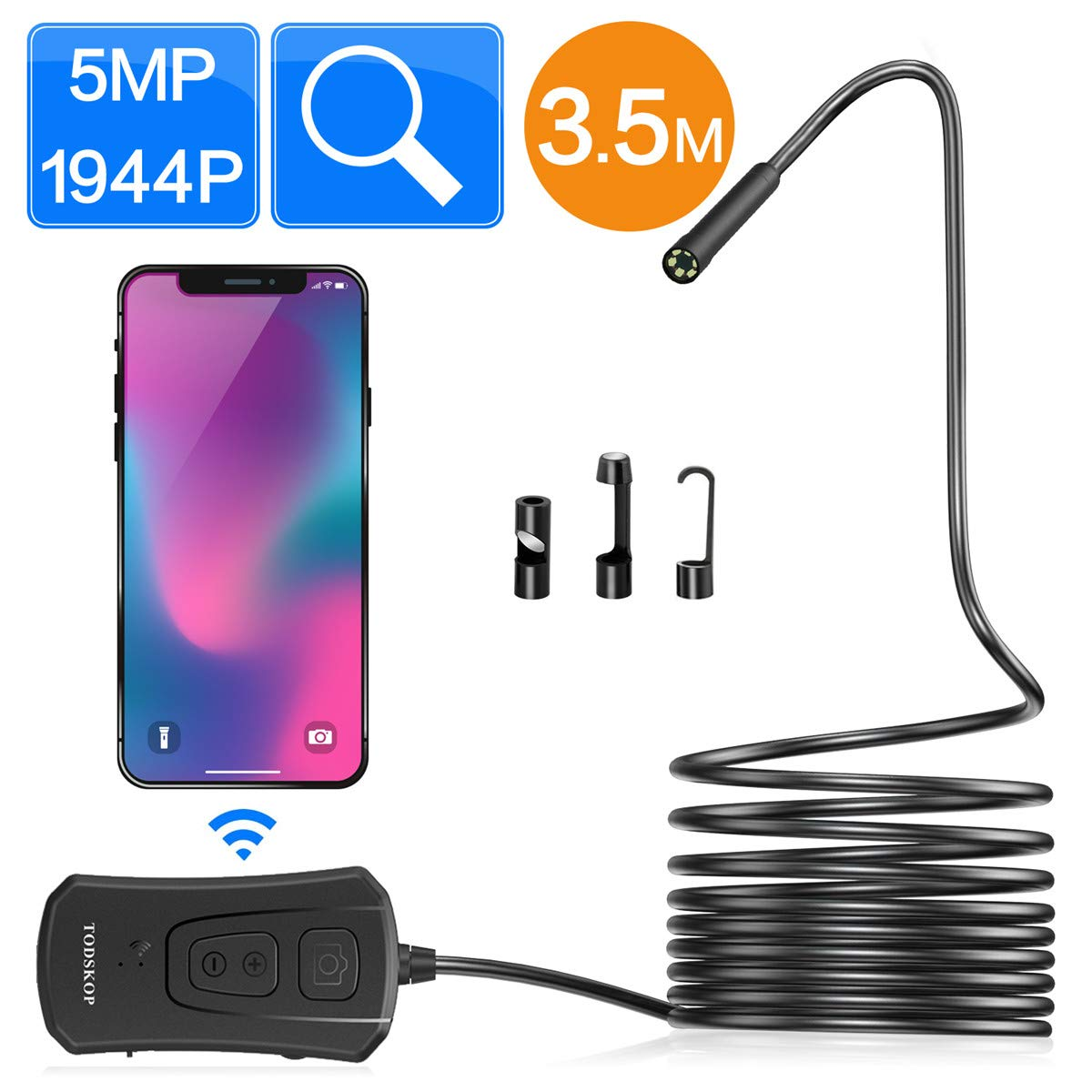 Wireless Endoscope Camera, TODSKOP 5.0MP WiFi Borescope Inspection Camera Waterproof IP67 Flexible Snake Camera 1944P HD for Android iOS Tablet PC (5MP/11.5FT)