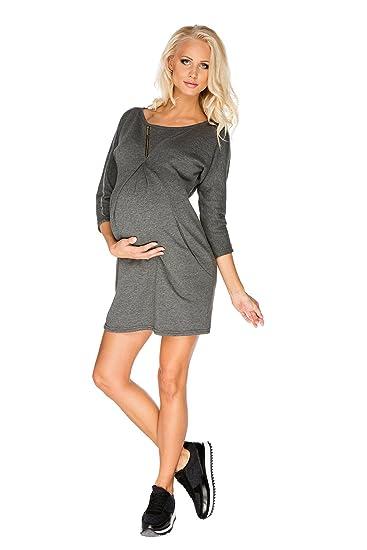 246cd8a7deacc My Tummy Maternity Dress Paula Sporty Comfortable Heather Grey Gray L  (Large): Amazon.co.uk: Clothing