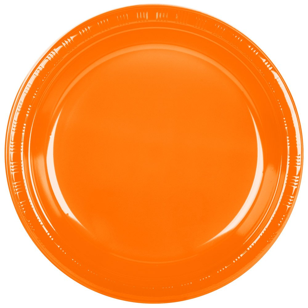 Creative Converting 28191031 10'' Sunkissed Orange Plastic Plate - 240/Case by Creative Converting