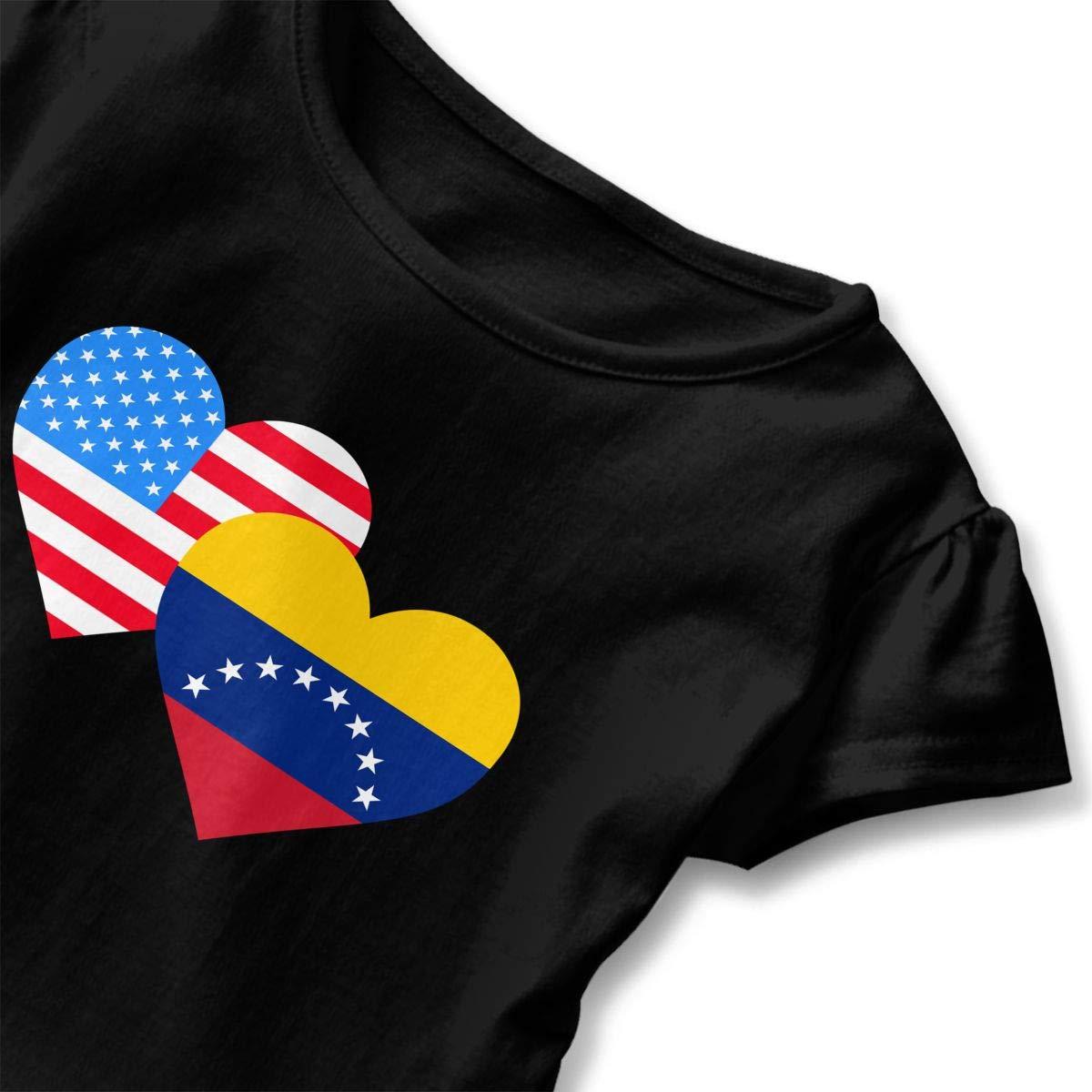 SHIRT1-KIDS American Venezuela Hraet Flag-1 Toddler//Infant Girls Short Sleeve T-Shirts Ruffles Shirt Tee Jersey for 2-6T