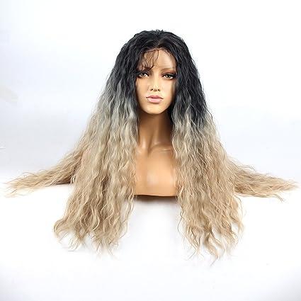 Life Diaries ® largo suelto rizado rizos Ombre Silver lace front wigs no maraña 250%