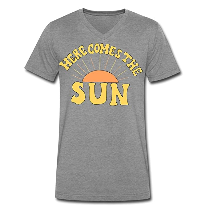 3351825cc09a Amazon.com  Here Comes The Sun Men s Summer Casual Graphic V-Neck Short  Sleeve Tees T-Shirt  Clothing
