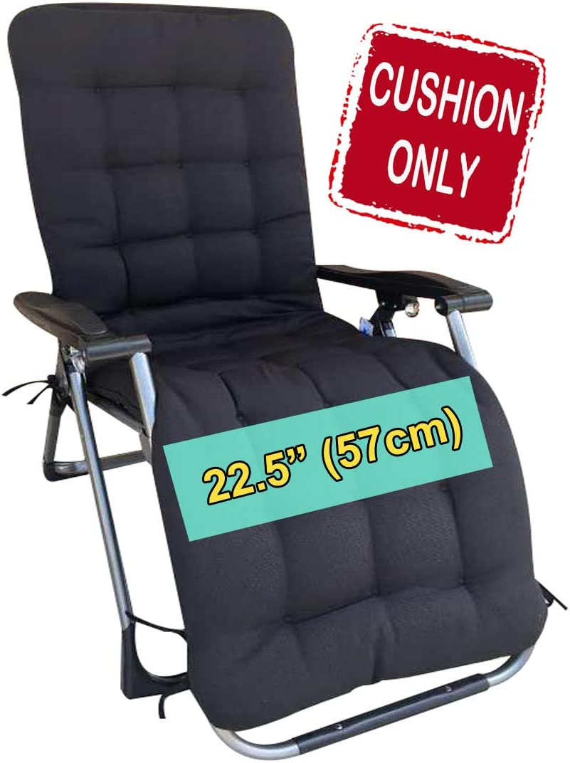 "Four Seasons BeiJiaEr {Cushion ONLY} for Extra Wide (Seat Width: 22.5"") Zero Gravity Chair Lounge Recliner Rocking Garden Patio Seat Pad Mat Cushion (Hood and tie Down) (Black)"
