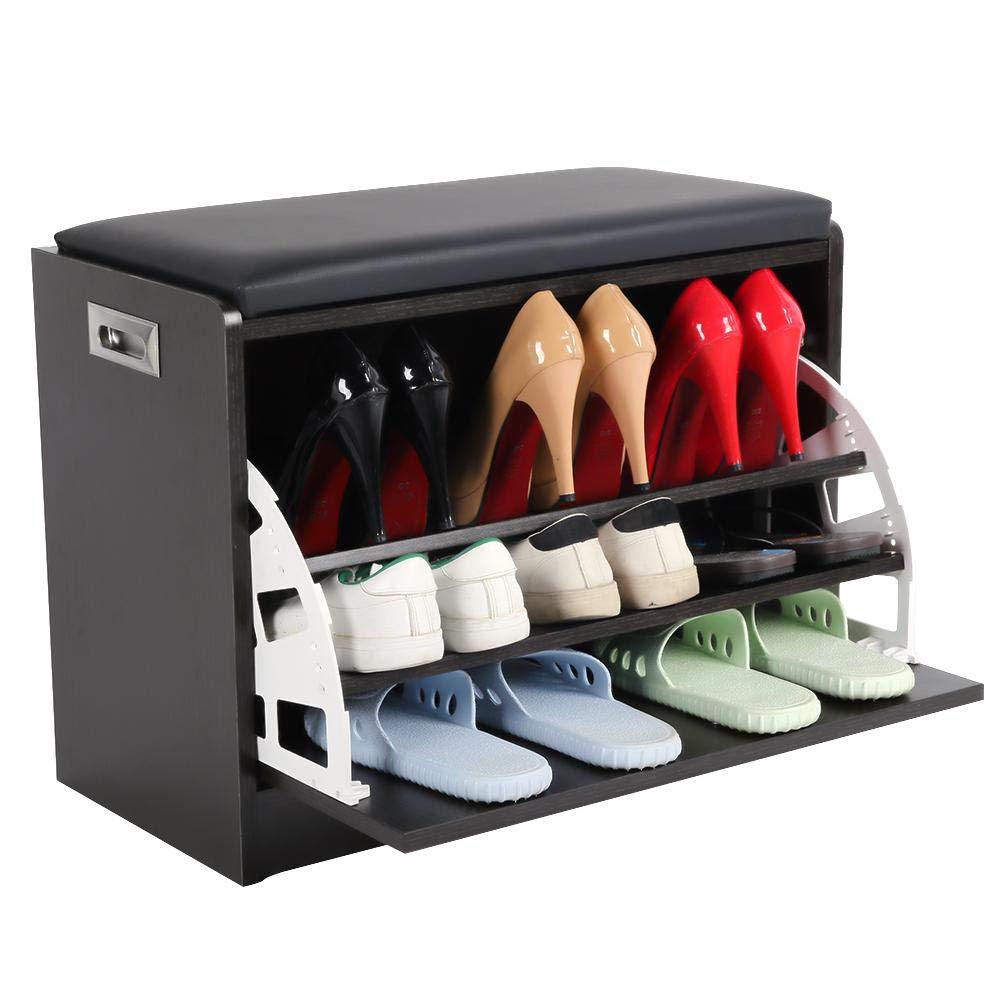 EBTOOLS Armario Zapatero con Asiento Estanter/ía para Zapatos con 3 estantes Taburete Banco Organizador para Zapatos Negro 60 x 45 x 10cm