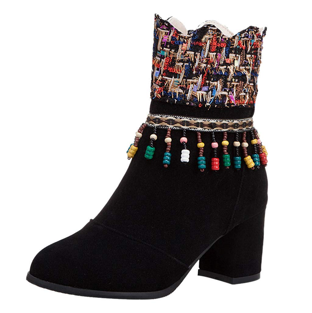 New Chunky Ankle Boot Retro Short Round Toe Casual Shoes Low Block Heel Booties (US:8, Black)