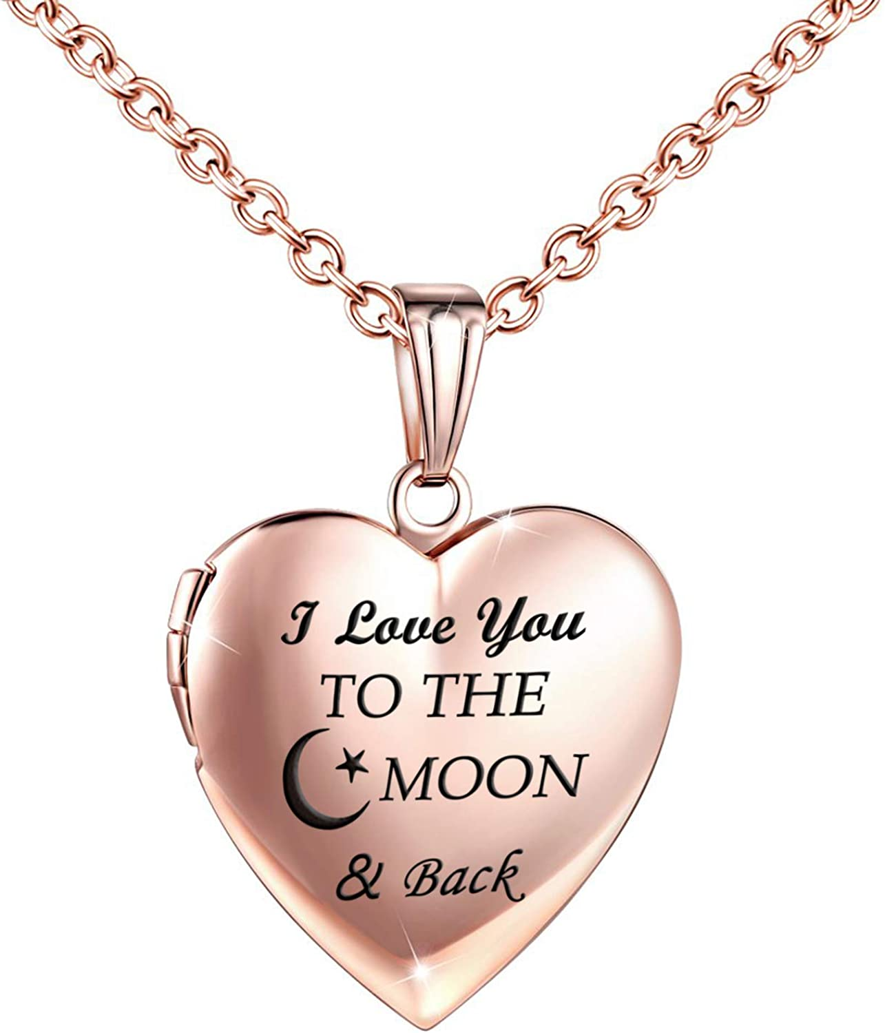 YOUFENG Love Heart Locket Necklace That Holds Pictures Engraved I Love You to The Moon and Back Photo Lockets