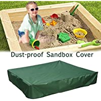 """Oslimea Sandbox Cover with Drawstring, Square Dustproof Protection Beach Sandbox Canopy, Waterproof Sandpit Pool Cover, Avoid The Sand and Toys Contamination (Green, 59.05"""" x 59.05"""")"""