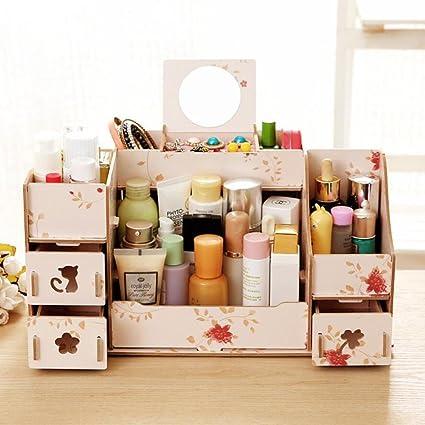 Creative Cosmetic Storage Box DIY Wooden Desktop Shelf Spring Flowers