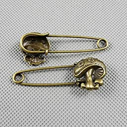 40 PCS Jewelry Making Charms Findings Supply Supplies Crafting Lots Bulk Wholesale Antique Bronze Tone Plated 53083 Mushroom Safety Pins Brooch