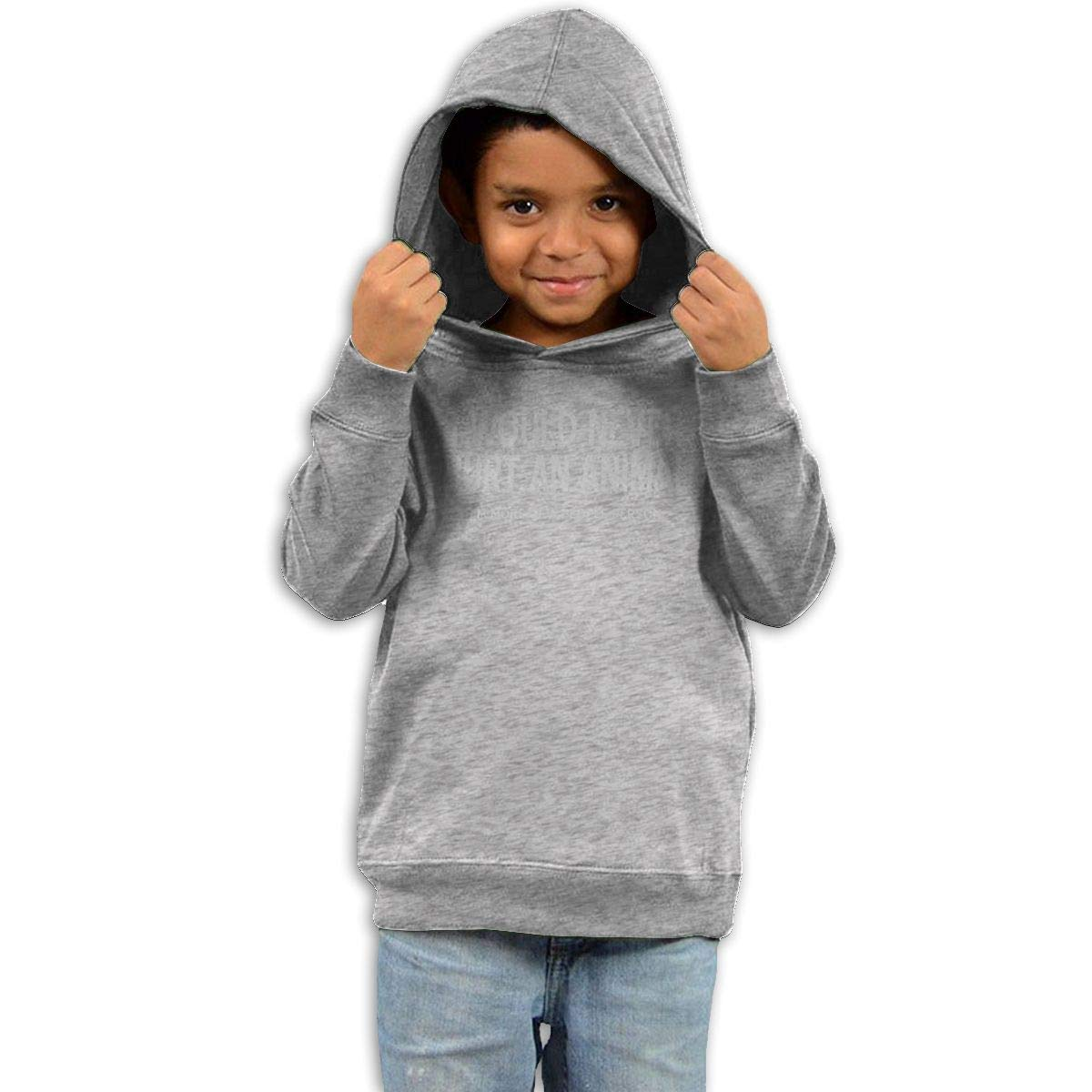 Childrens Hooded Sweater I Would Never Hurt an Animal Children Sweater Black