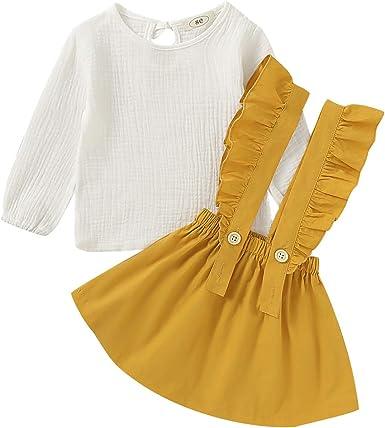 Tianhaik Conjunto de Vestido de niña niño Primavera Verano 1-6t Camisa de Manga Larga Blanca Falda de Tirantes con Volantes para Fiesta: Amazon.es: Ropa y accesorios