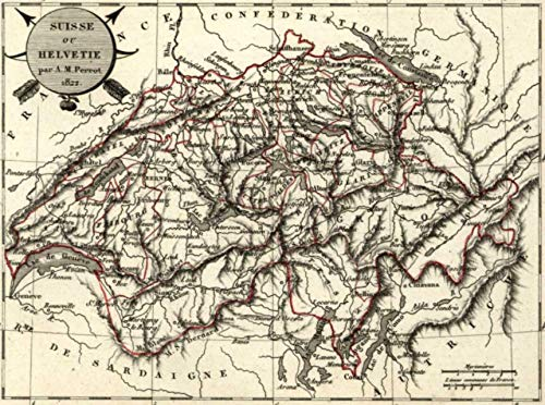 - Switzerland Helvetia by Perrot 1822 scarce fine old vintage antique map