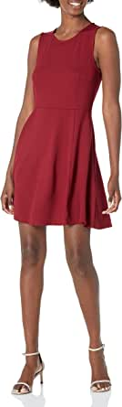 Lark & Ro Women's Sleeveless Wide Scoop Neck Fit and Flare Dress