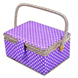 "Polka Dot Fabric Sewing Basket with Plastic Tray Home Storage Box Gift Box,31 Pcs Sewing Kit Accessories,9.4"" x 7"" x 5.9"" (Purple)"
