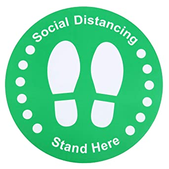 12 Pack Premium Social Distance Floor Decals,Social Distancing Sign,6 Feet Distance Floor Sign Warning Signs Anti-Slip Stand Here 11Round