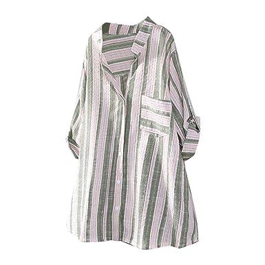 MOTOCO Camisa A Rayas de Mujer de TamañO Superior Camisa con ...