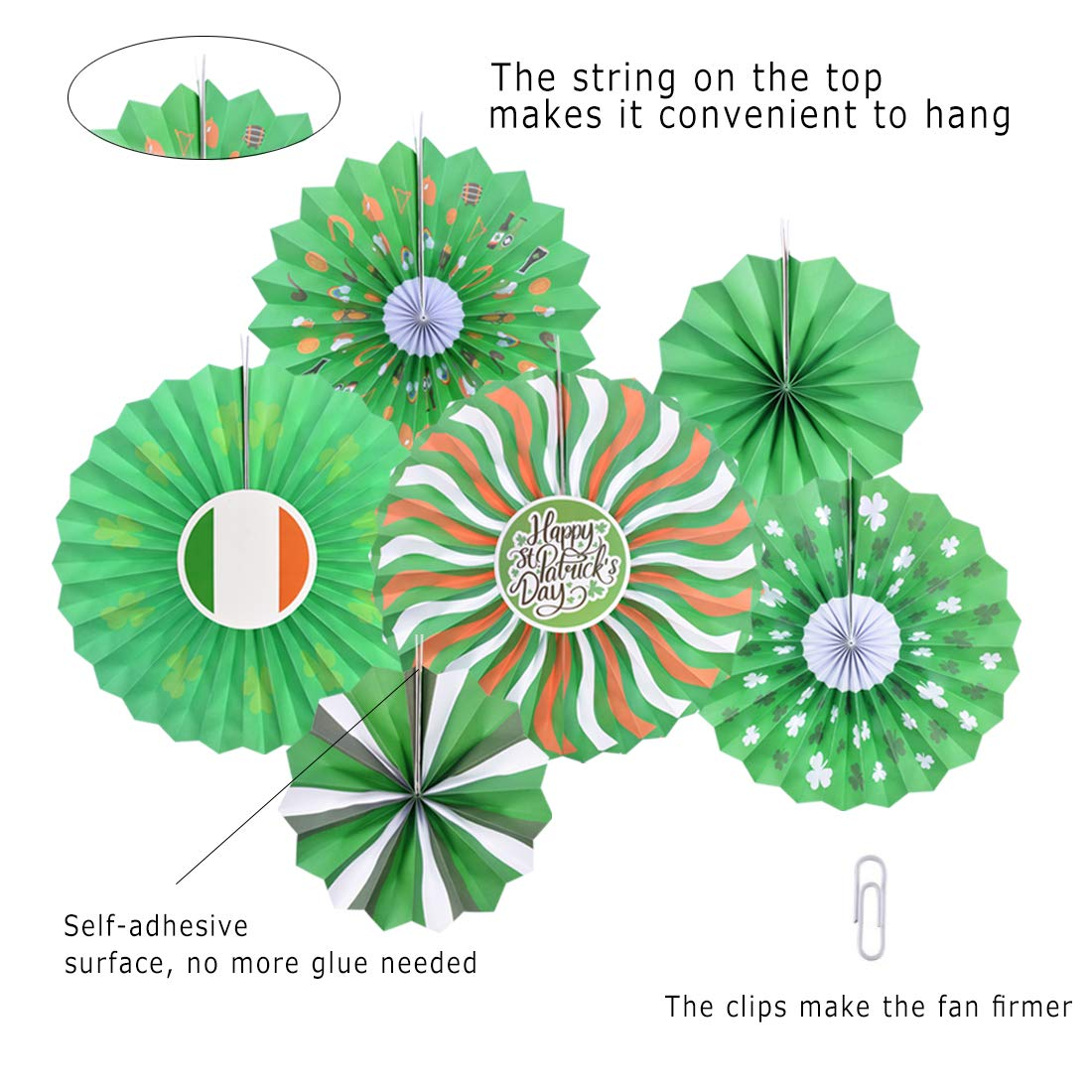 Green Patrick/'s Day Paper Fans Tissue Green Shamrocks Round Pattern Folding Fans Bundle Hanging Sign Lucky Irish Party Decorations Supplies Ornament 12PCS Lansian St