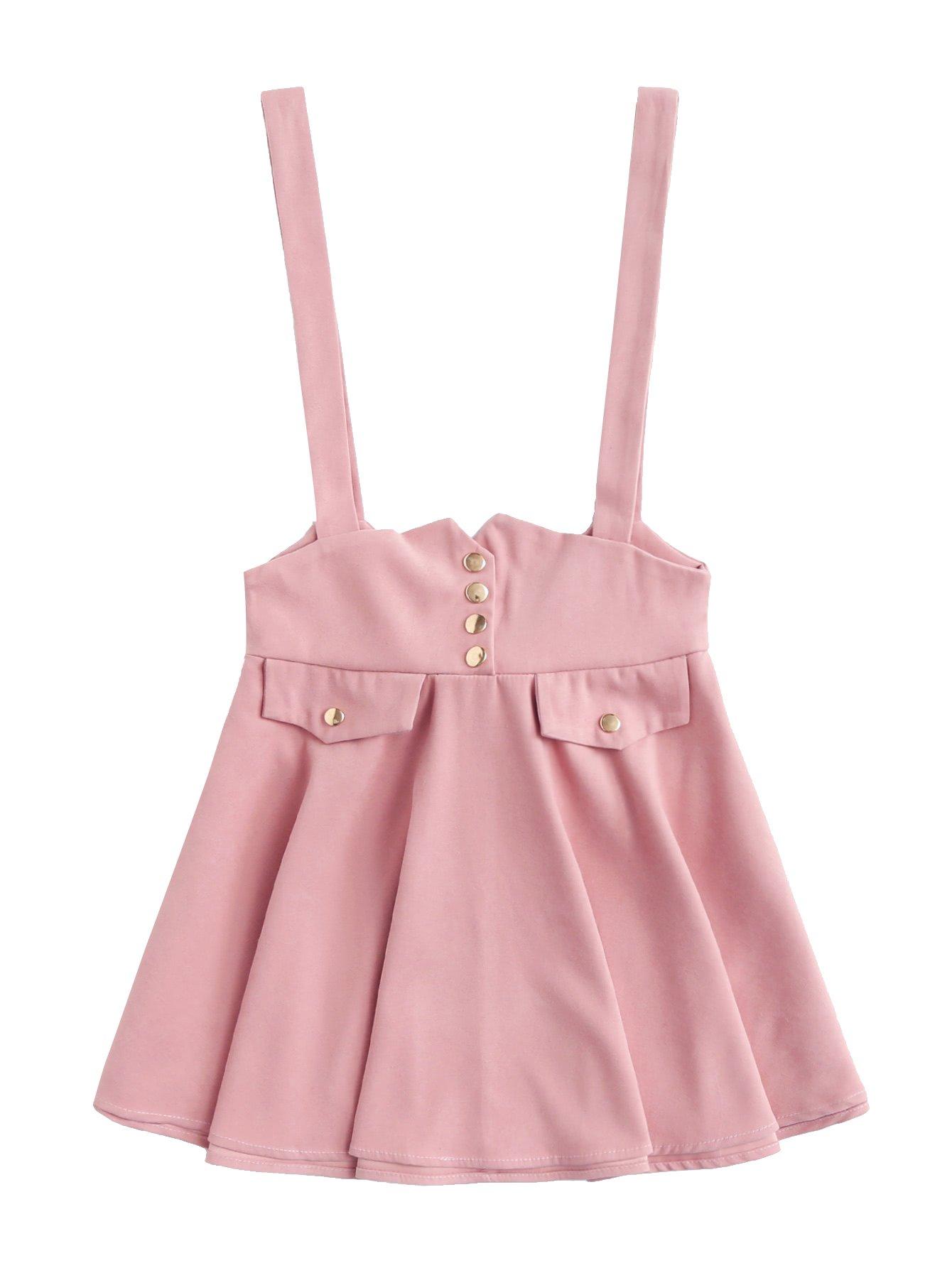 MakeMeChic Women's Button Up Summer High Waist Suspender Skirt Pink L