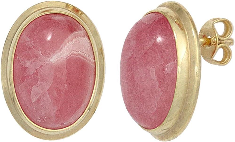 Pendientes de plata con Rodocrosita Oval Rosa - Oro rosa{585}