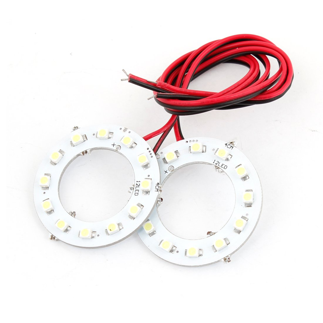 2 x 40mm White 12-SMD LED Rear Angel Eyes Halo Ring uxcell a13121600ux0144
