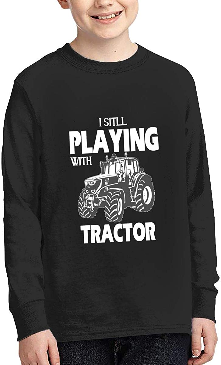 ZHAN-pcc Junior I Still Play with Tractors Fashion Long Sleeve Crewneck T Shirts Jersey Black