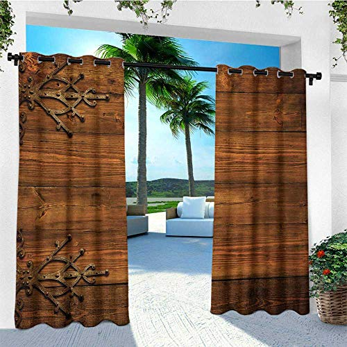 - leinuoyi Rustic, Outdoor Curtain Ties, Antique Backdrop with Carved Dated Gothic Style Ornaments Retro Fashioned Picture, Outdoor Patio Curtains W108 x L96 Inch Dark Rosewood