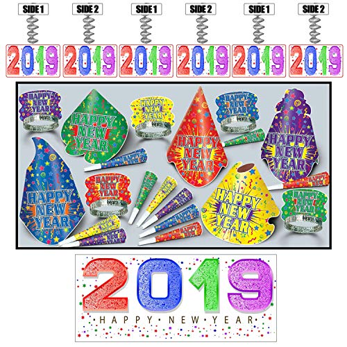 Jamboree New Year Assortment for 25 Includes 2019 Banner & Danglers - by Partypro from Partypro