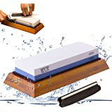 Premium Knife Sharpening Stone kit 2 Side Whetstone Set 1000/6000 Grit Sharpening & Honing Waterstone Best Sharpener for Chefs & Kitchen Knife Anti-slip Stone Holder Base & Angle Guider Free Bonus