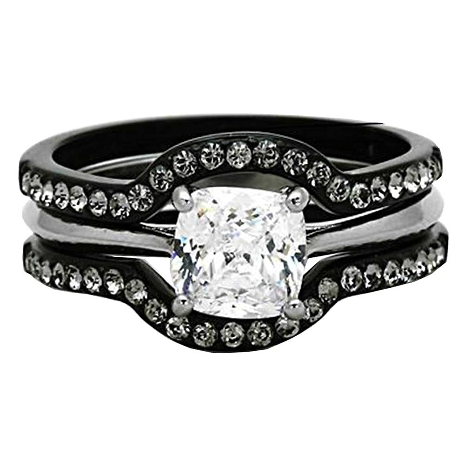 Amazon Black Stainless Steel Wedding Ring Sets Cushion Cut
