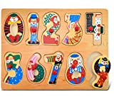 Puzzled Numbers Peg Puzzle - Clowns and Numerals Wood Puzzle Game, Easy to Play Toy Puzzle, Fun Shape Matching Puzzle Peg Toy, Educational Brain Teaser Game Wooden Puzzle & Learning Activity for Kids