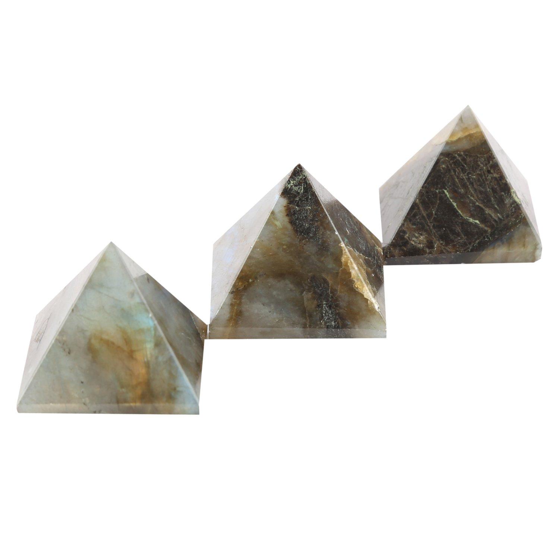 Aatm Reiki Labradorite (1inch) Gemstone Pyramid/EMF Protection Meditation Energy Generator(Set Of 3)