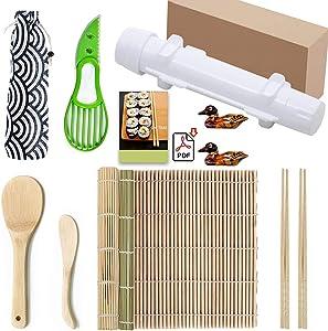 XKISS Sushi Making Kit, 2 Bamboo Sushi Mats and 1 Professional Sushi Bazooka Rice Roller, 2 Pairs of Bamboo Chopsticks, Avocado Slicer Holder Paddle Spreader, Rolling, Beginner Sushi Kit DIY at Home