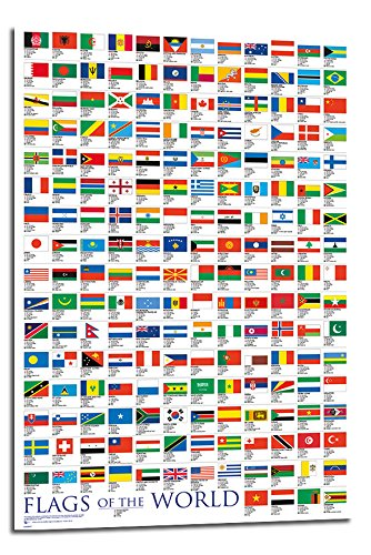 Flags Of The World Large Poster Float Mounted - 90 x 60cms