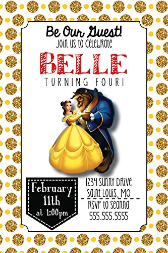 Custom Birthday Party Invitation - Beauty and the Beast, Personalized (Beauty And The Beast Bridal Shower Invitations)