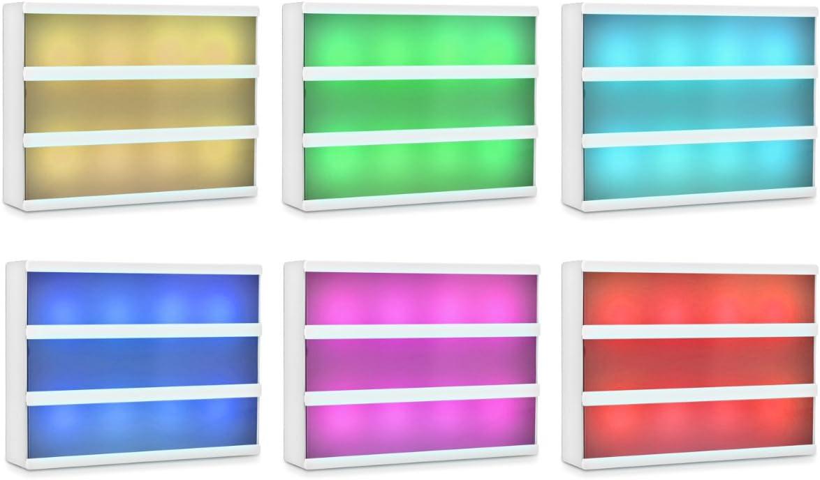 kwmobile Bo/îte lumineuse LED A4-7 changements de couleur 126 caract/ères color/és Bo/îte /à lumi/ère personnalisable prise micro USB