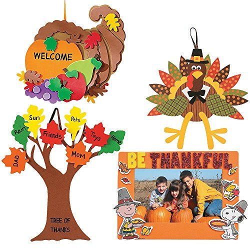 Craft Kits Thanksgiving & Autumn | Peanuts Be Thankful Picture Frame Magnet Kit, Foam Cornucopia Door Sign Kit, Turkey Making Kit &