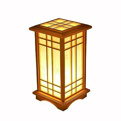 Lámpara de Mesa de Madera Japonesa de pie XLANLAN, lámpara ...