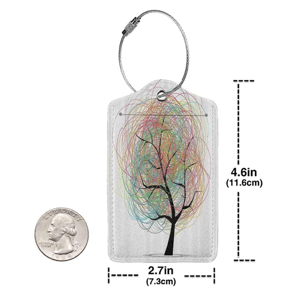 Flexible luggage tag Tree of Life Decor Collection Colorful Swirling Doodles Tree with Branches Funky Contemporary Illustration Life Fashion match Pastel White W2.7 x L4.6
