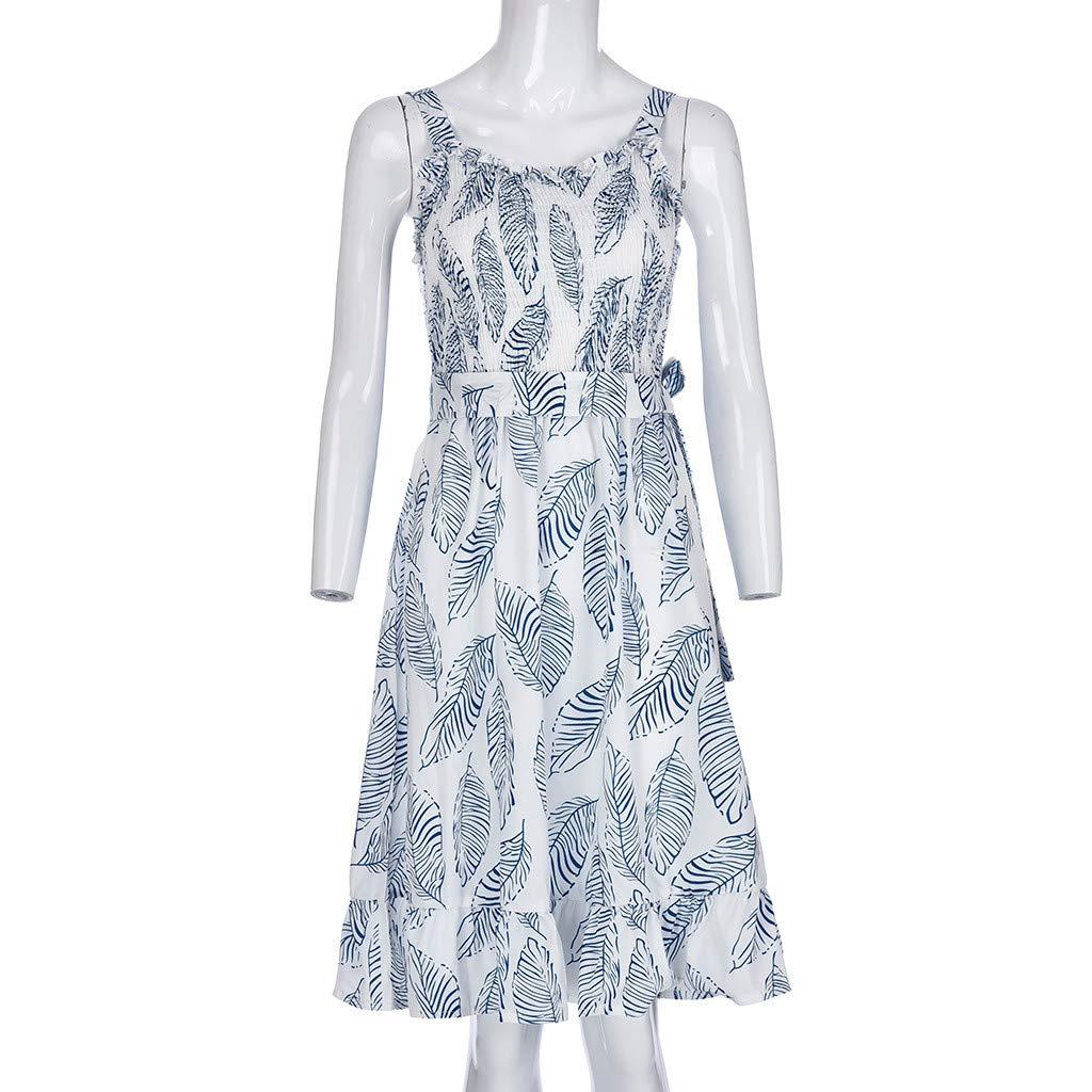 ❤️❤️ Women's Ruffle Tie Summer Boho Spaghetti Strap Semi-Backless Button Down A-Line Midi Dress with Belt Blue by HTHJSCO-Dress (Image #7)