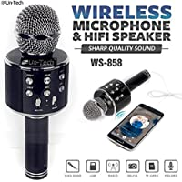 Gadgetbucket Un-Tech WS-858 Rechargeable Wireless Karaoke Bluetooth Microphone with Inbuilt Speaker with Audio recording for All IOS/Android Smartphone (Colour May Vary)