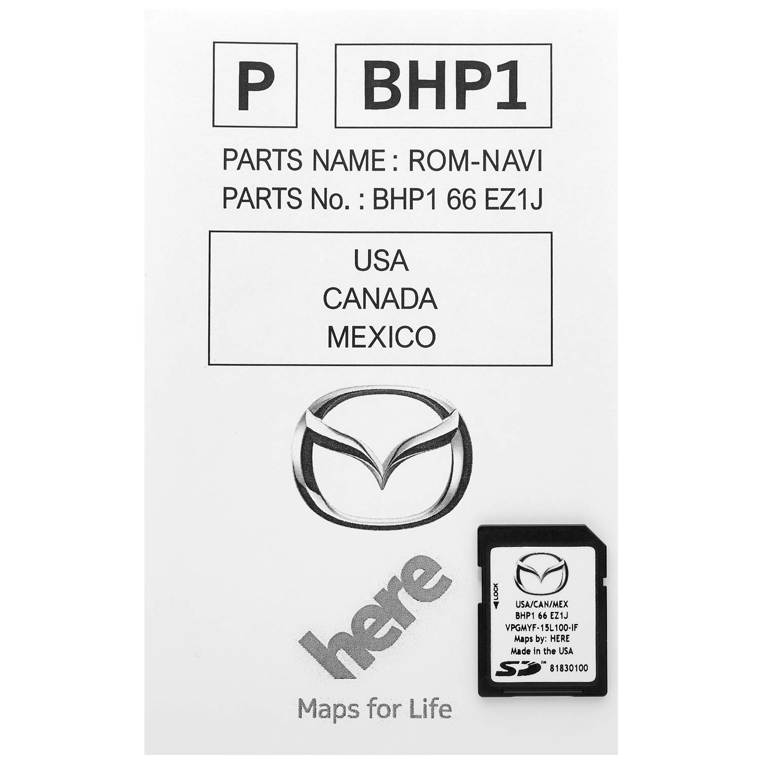 Latest 2019 Navigation SD Card 2019 2018 2017 Version BHP166EZ1J for Mazda 3 6 CX-3 CX-5 CX-9 GPS Chip Map with Anti Fog Car Rearview Mirror Film Pack of 2 and Key Anti-Lost