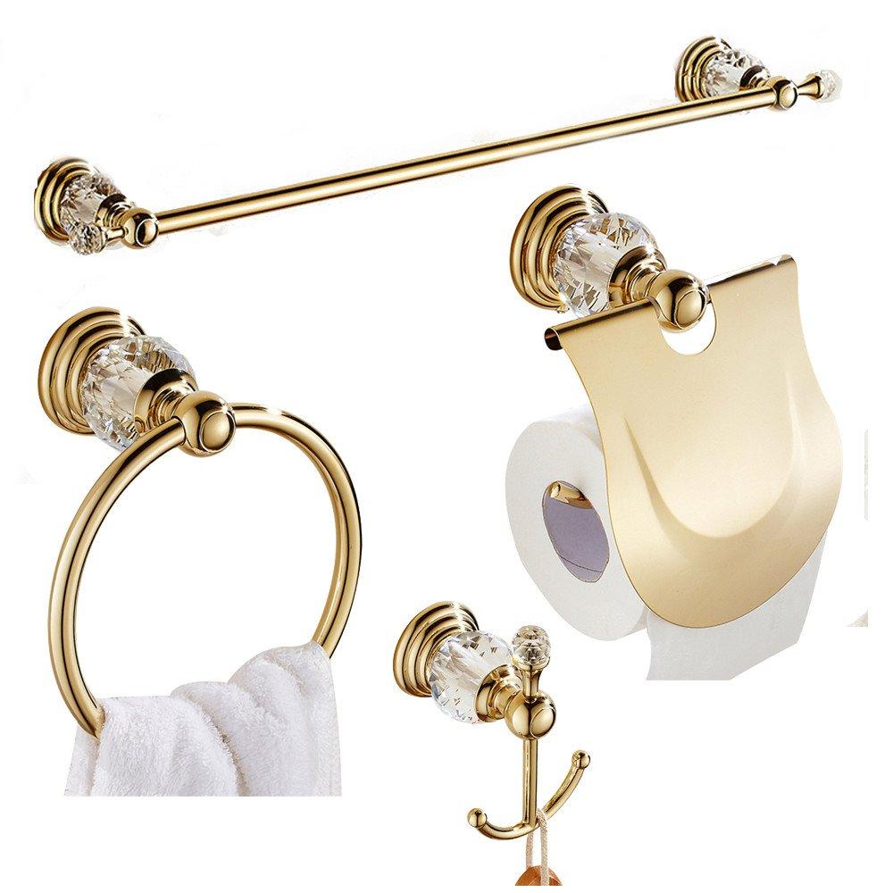 CASEWIND- Set composto da 4 accessori da bagno in lega di zinco e finitura lucida dorata. (portasciugamani, portasciugamani ad anello, gancio doppio per accappatoio e portarotolo di carta igienica), montaggio a parete. Europeo Gold