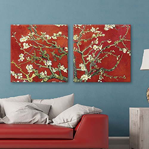 wall26 2 Panel Square Canvas Wall Art - Almond Blossom in Red by Vincent Van Gogh - Giclee Print Gallery Wrap Modern Home Decor Ready to Hang - 24