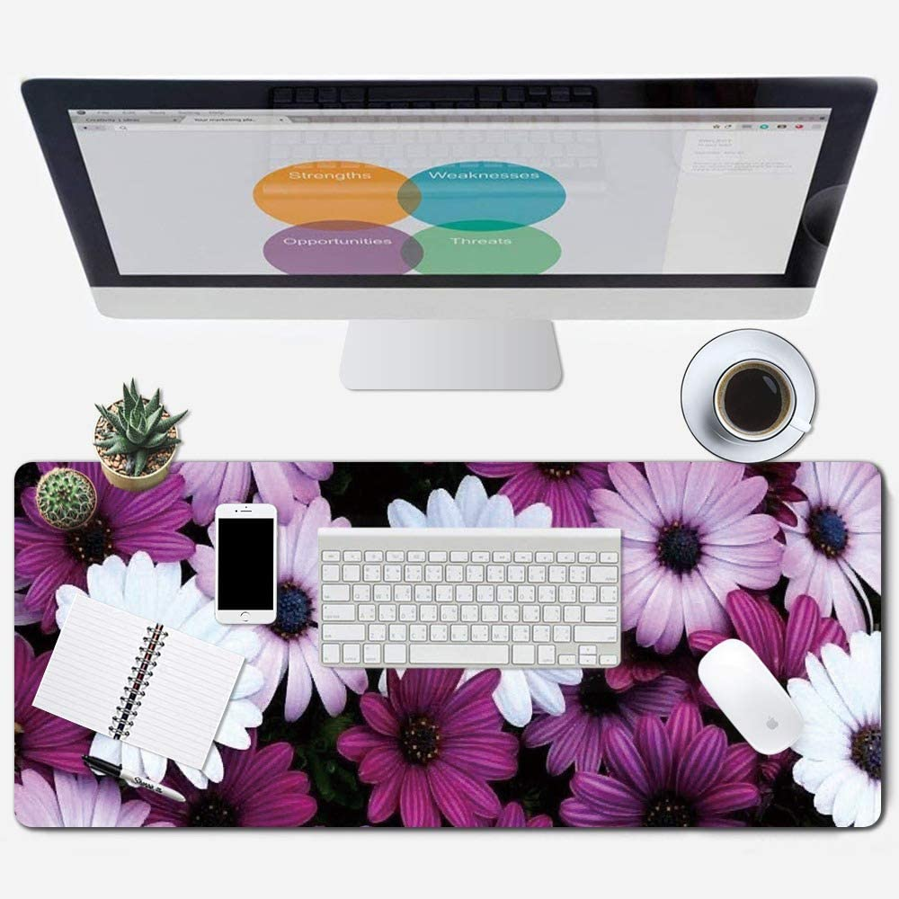 iNeworld Large Mouse Pad XXL Computer Game Mouse Mat Desk Pad Keyboard Mat Big Mouse Pad for Laptop Work & Gaming& Office & Home (31.5×11.8×0.15 inch)-Pink Marble (Blossom Flower)
