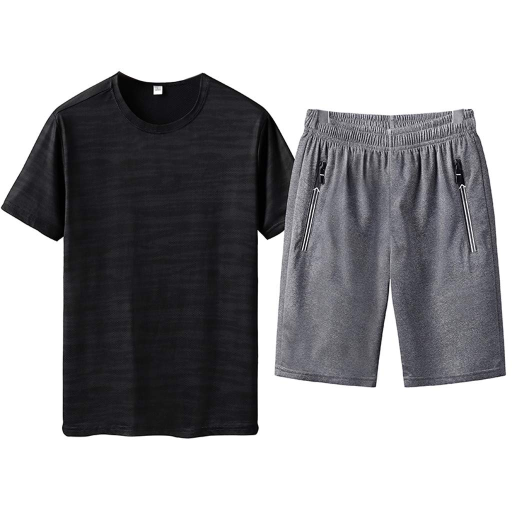 WUAI Mens 2 Piece Outfits Plus Size Casual Short Sleeve T-Shirts + Shorts Jogging Athletic Tracksuits L-6XL(Black,US Size M = Tag L)