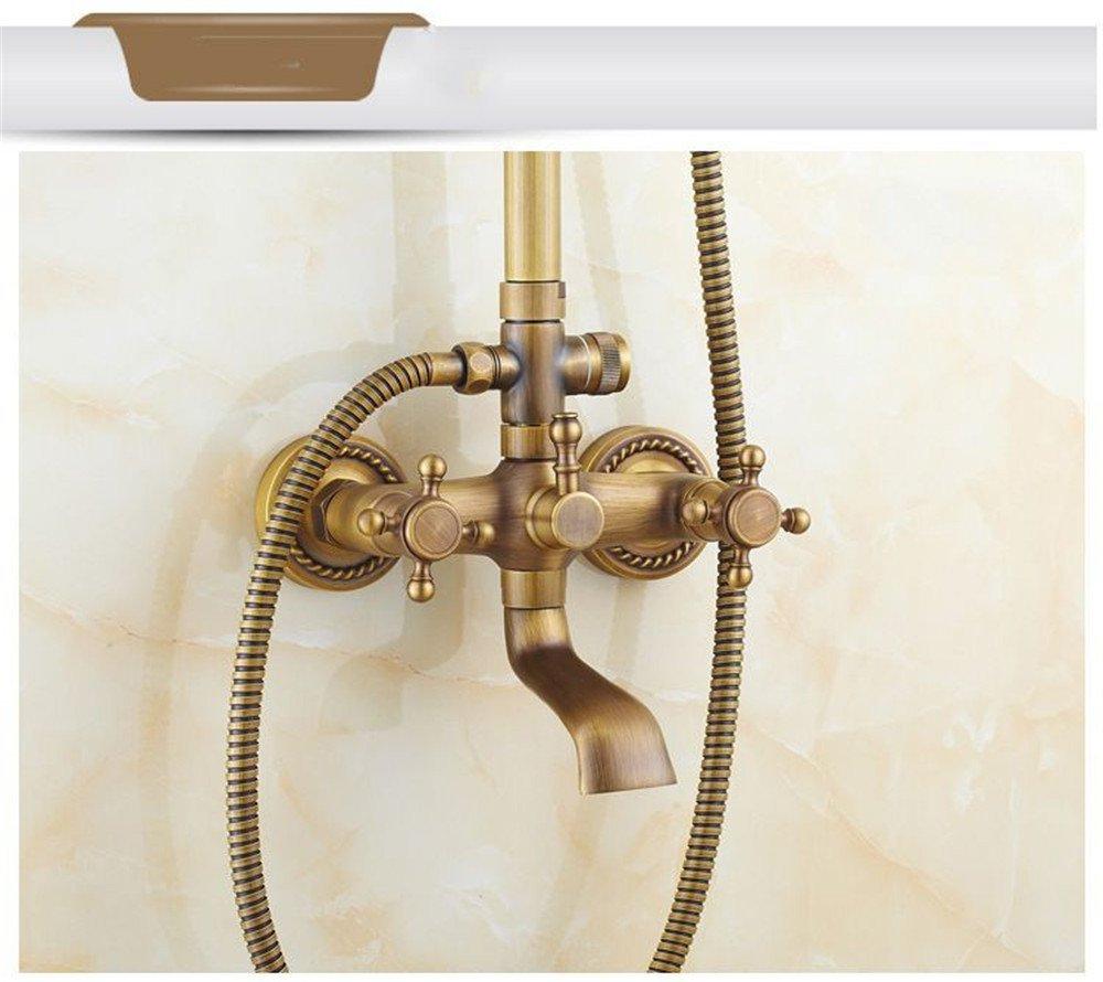 Bijjaladeva Wasserhahn Bad Wasserfall Mischbatterie Waschbecken Waschtisch Antike Kupfer Dusche Dusche Dusche Dusche Wasserhahn Kit Wand mit Hebe Dusche Pole Spray+Handheld Dusche montiert 11d9d9